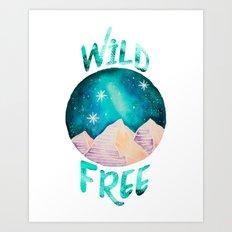 Wild & Free Boho Gypsy Galaxy Night Sky Art Print