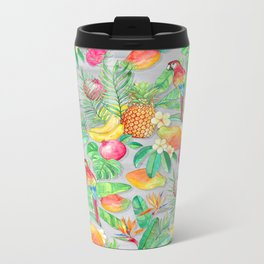 Tropical Paradise Fruit & Parrot Pattern Metal Travel Mug