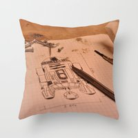 r2d2 Throw Pillows featuring R2D2 by radiantlee