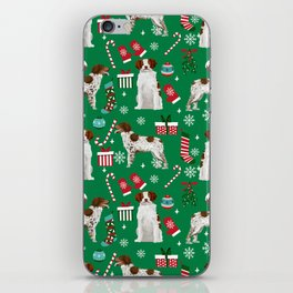 Brittany Spaniel christmas pattern dog breed presents stockings candy canes iPhone Skin