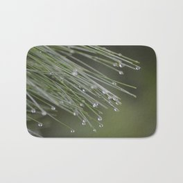 Raindrops on Pine Tree Macro Nature Photography - Anticipation Bath Mat