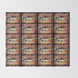 Vintage Red Trout Fresco by - OLena Art Throw Blanket