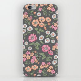 Floral Flowers Vintage Garden Pink Red Peach On Dark Grey iPhone Skin