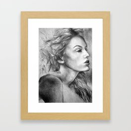 Into the unknown, 2018, 50-70cm, graphite crayon on paper Framed Art Print