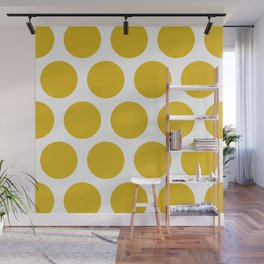Mustard Yellow Large Polka Dots Wall Mural