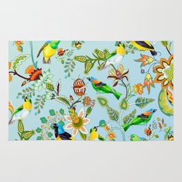 Colourful Birds Chintz Multicolour Rug
