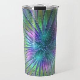 Colorful and luminous Fantasy Flower, Abstract Fractal Art Travel Mug