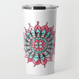 Pink and Turquoise Mandala Watercolor Painting Travel Mug