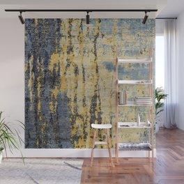 Blue Gold Oriental Rug Print Wall Mural