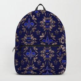Fleur-de-lis pattern lapis lazuli and gold Backpack