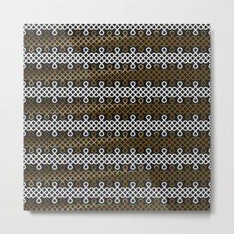 Endless Knot pattern - Gold & white Metal Print