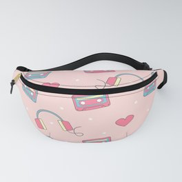 cute colorful pattern with headphones, hearts, dots and cassette tapes Fanny Pack