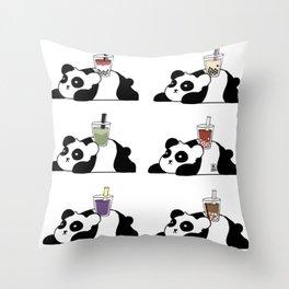 Wall of Boba Pandas Throw Pillow