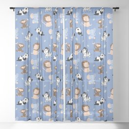 The jungle animals pattern Sheer Curtain