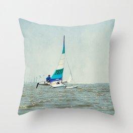Catamaran Sailing Throw Pillow