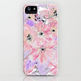 Modern pastel lilac pink watercolor flowers iPhone Case
