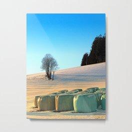Hay bales in winter wonderland   landscape photography Metal Print