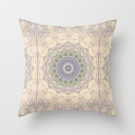 32 Wisteria Pine Loop -- Vintage Cream and Lavender Purple Mandala  Throw Pillow
