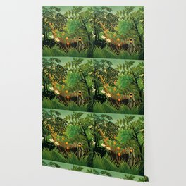 """Henri Rousseau """"Monkeys in the jungle - Exotic landscape"""" Wallpaper"""