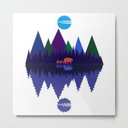 Bear & Cubs Blue Moon Metal Print