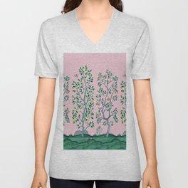 Citrus Grove Chinoiserie Mural in Pink Unisex V-Neck