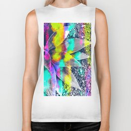 succulent plant with painting abstract background in green pink yellow purple Biker Tank