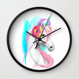 Unicorn in the headphones of donuts Wall Clock