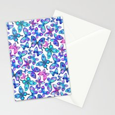 Watercolor Fruit Patterned Butterflies - aqua and sapphire Stationery Cards
