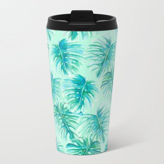 Paradise Palms Mint Metal Travel Mug