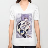 cosmos V-neck T-shirts featuring Cosmos by YURIA