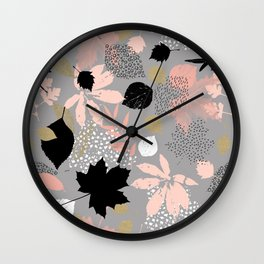 Abstract maple leaves autumn in pink and gray colors Wall Clock