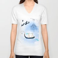 voyage V-neck T-shirts featuring VOYAGE by Rash Art