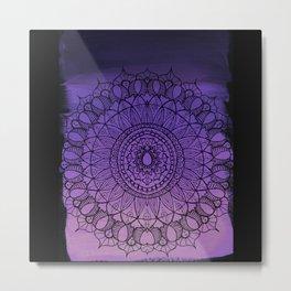 Purple Ombre Boho Mandala Metal Print