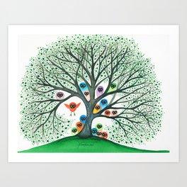 Teton Owls in Tree Art Print