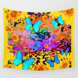 Yellow Floating Butterflies Flowers Dreamscape Wall Tapestry