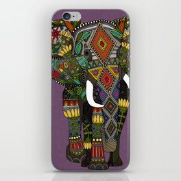 floral elephant violet iPhone Skin
