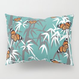 Orange Butterflies between Bamboo leaves turquoise #society6 Pillow Sham