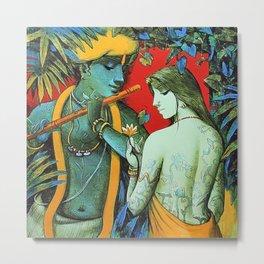 radha krishna garden painting Metal Print