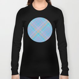 Colorful Plaid Pattern with Blue Background Long Sleeve T-shirt