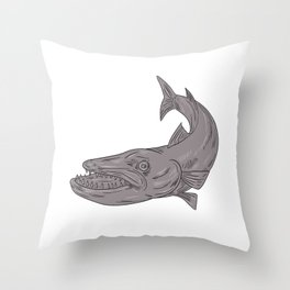 Barracuda Swimming Down Drawing Throw Pillow