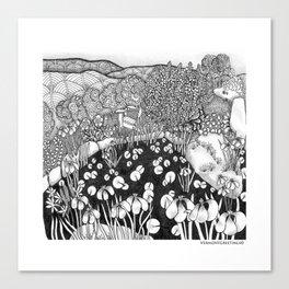 Zentangle Vermont Landscape Black and White Illustration Canvas Print