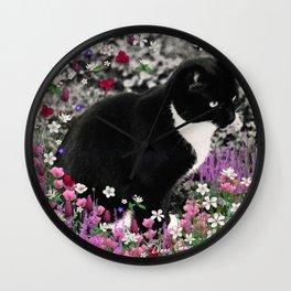 Freckles in Flowers II - Tuxedo Kitty Cat Wall Clock