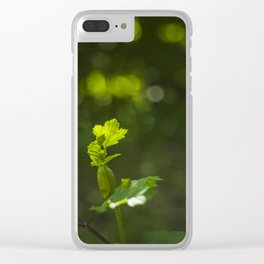 Green leaf and summer light bokeh Clear iPhone Case