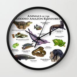 Animals of the Flooded Amazon Rainforest Wall Clock