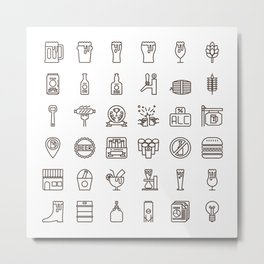 Craft Beer Icons Metal Print