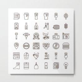 Craft Beer Icons Metal Print
