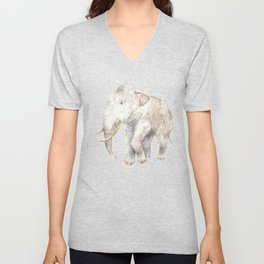 Woolly Mammoth Watercolor Mastodon Painting Unisex V-Neck