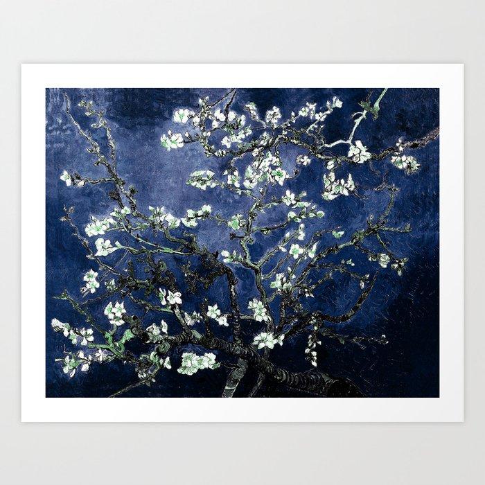 Vincent Van Gogh Almond Blossoms Dark Blue Kunstdrucke