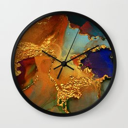Abstract Gold and Blue Hues Glitter Paint Texture Wall Clock