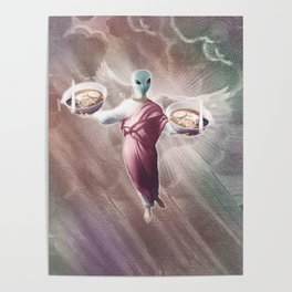 Ramen Alien Jesus Poster